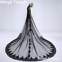 One Layer 3 M Long Wedding Veil Black Lace Bridal Veil with Comb Velos De Novia Sequins Lace Edge Cathedral Veils Mingli Tengda