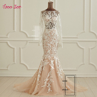 Taoo Zor Wedding Dress 2018 Vintage Mermaid Lace Appliques Robe de Mariage Sexy Back Bride Dresses Vestido de Noiva