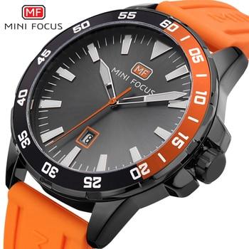 Reloj de pulsera deportivo resistente al agua MINIFOCUS de cuarzo para hombre con correa de silicona naranja de lujo