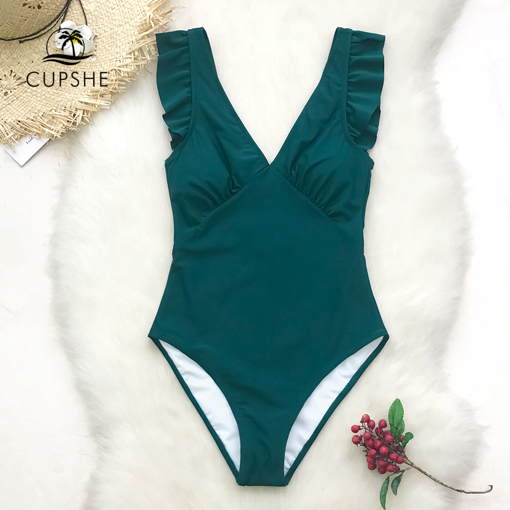 CUPSHE Green Teal Plunging Solid One-Piece Swimsuit Women Ruffle Ruched Monokini 2019