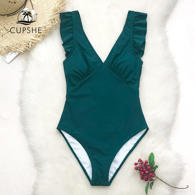CUPSHE зеленый бирюзовый Погружаясь сплошной цельный купальник женщин Ruffle Ruched Монокини 2019 девушка пляж купальные костюмы