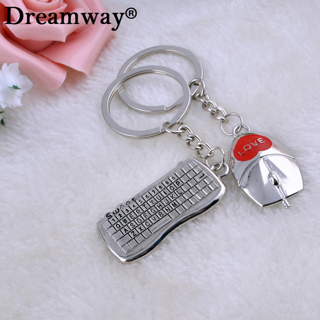 High Quality 1pair Lover Couple Keychain Key Chain Ring Computer