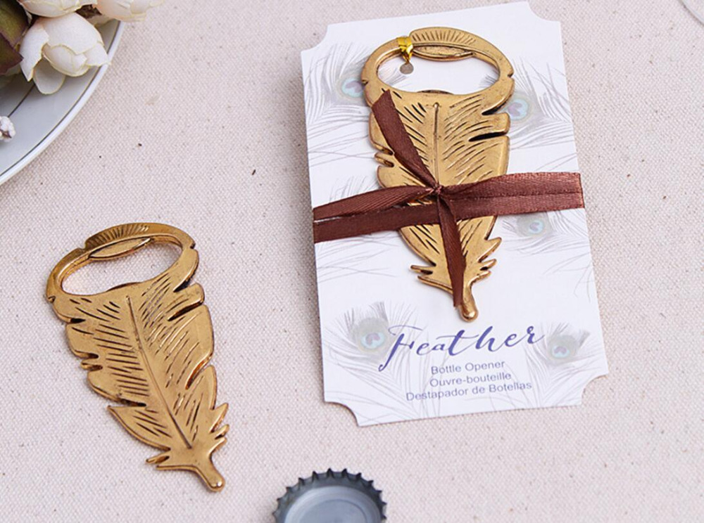 lastest fashion new alloy metal vintage retro feather beer bottle opener summer on beach for Wedding Party Favor decor Gift