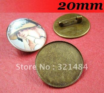 Antique bronze 300piece/lot 20mm Round Cameo Cabochon Setting Brooches Blanks and Base with Safety pin