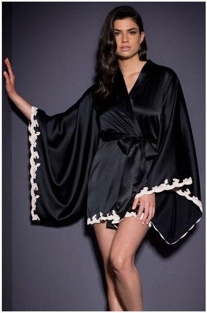 2017 люкс cc бренд женской Шелк качества Халаты сексуальное нижнее белье Шелковые Кимоно Халат flare рукавом кружева гостиная Туалетный ночные сорочки