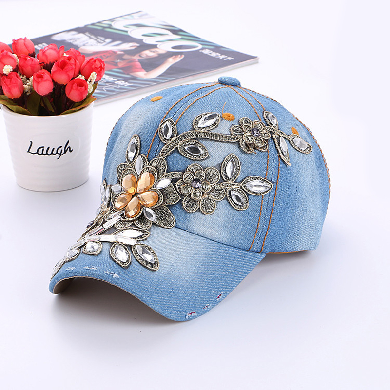 Women s Baseball Cap Diamond Painting Embroidery Flower Denim Snapback Hats  Woman Female Cap Cowboy Summer Sun Hat NQ893706-in Baseball Caps from  Apparel ... 297e4ca85eb
