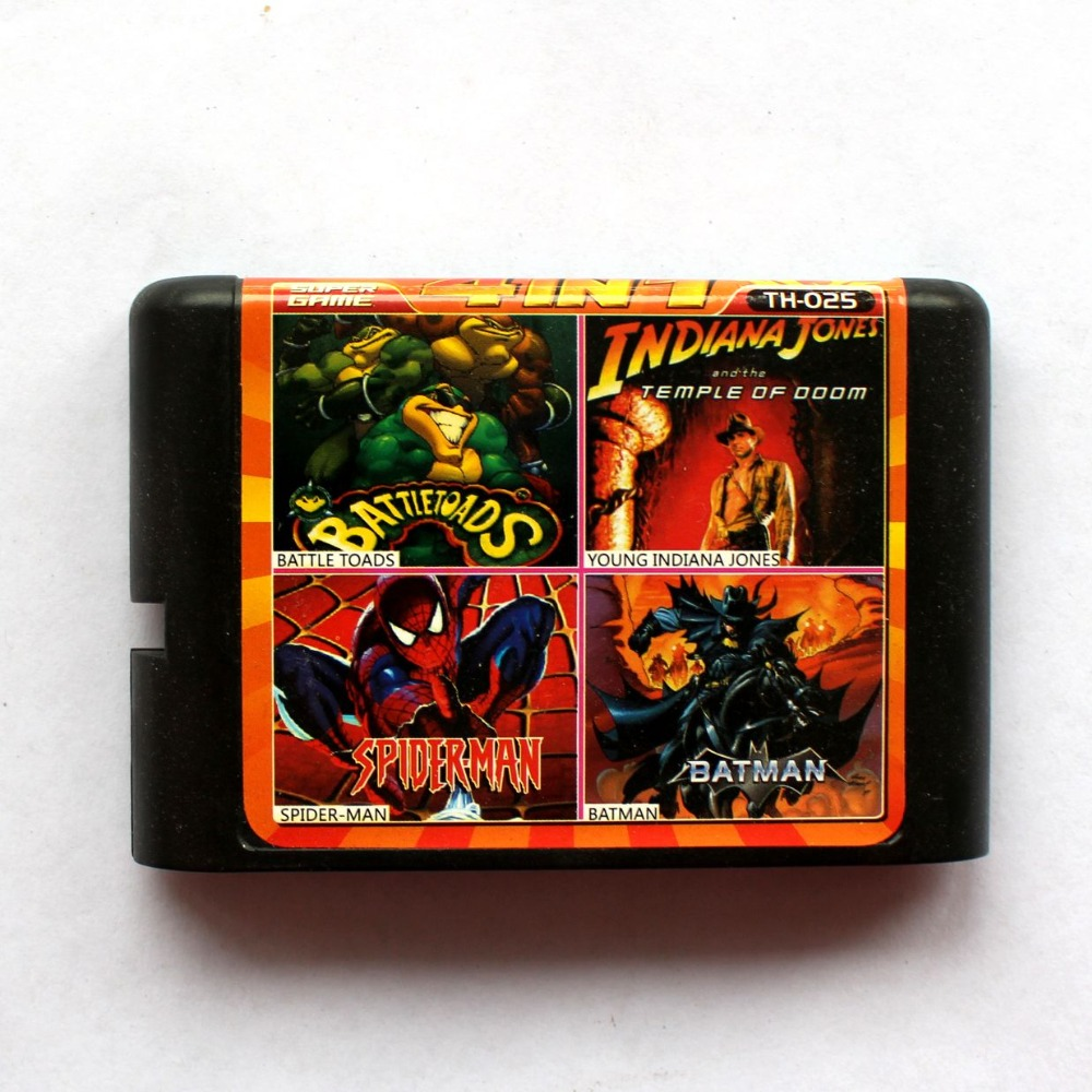 4in1 Battle Toads+Young Indiana Jones+Spider-Man+Batman 16 bit SEGA MD Game Card For Sega Mega Drive For Genesis