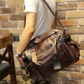 fashion men business tote handbag vintage pu leather zipper messenger shoulder laptop bag travel luggage bags large duffle bolsa