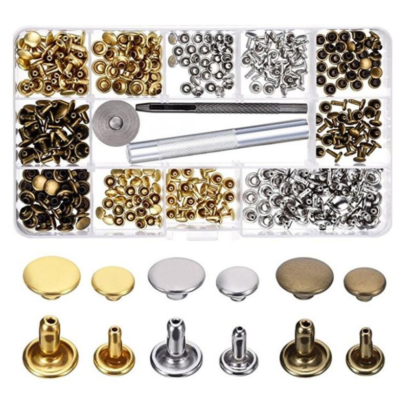 180 Set 2 Sizes Leather Rivets Double Cap Rivet Tubular Metal Studs with 3 Pieces Fixing Tool Leather Craft Rivets Replacement