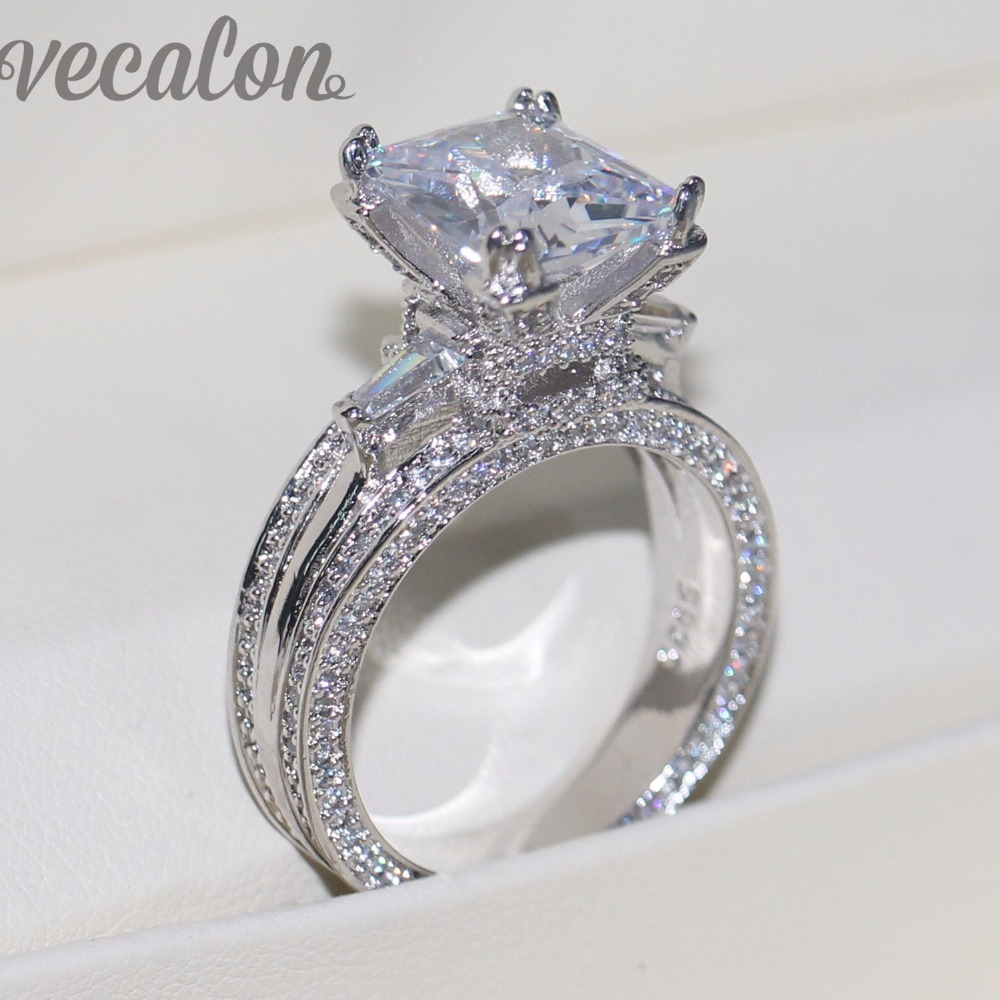 Vecalon Frauen Große Schmuck ring Prinzessin Cut 10ct AAAAA Zirkon stein 300 stücke Cz 925 Sterling Silber Engagement Ehering geschenk