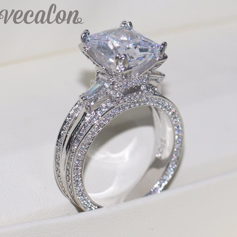 Vecalon Women Big Jewelry ring Princess Cut 10ct AAAAA Zircon stone 300pcs  Cz 925 Sterling Silver Engagement Wedding Ring Gift