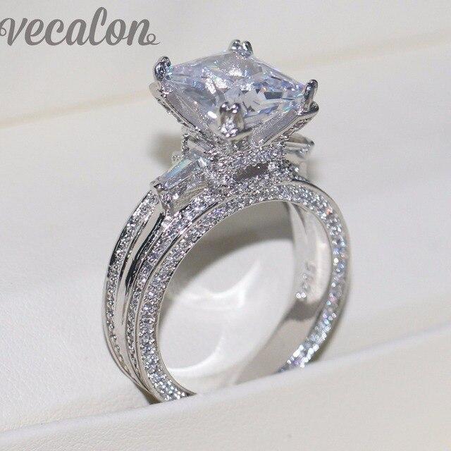 Vecalon Women Big Jewelry ring Princess Cut 10ct AAAAA Zircon stone