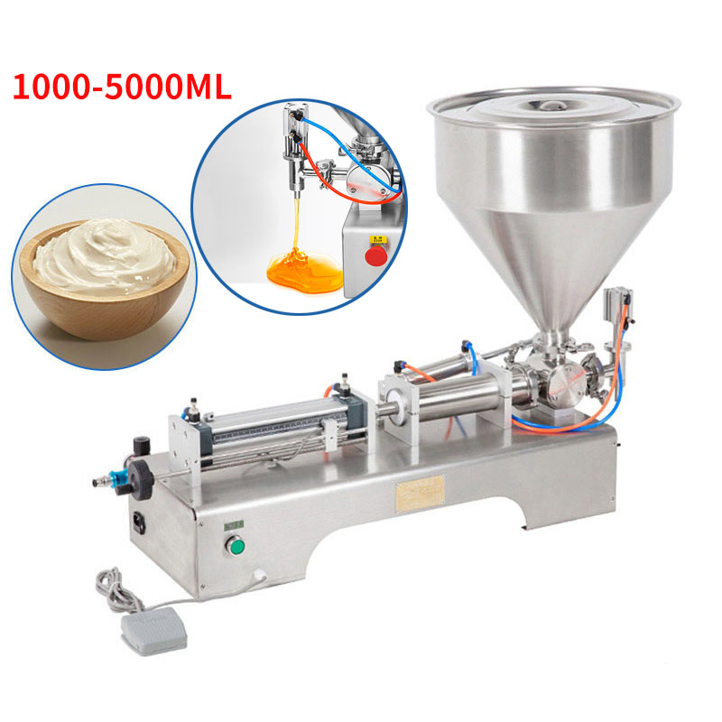 1000-5000ML Electric Pneumatic Single Head Paste Filling Machine Bee Toothpaste Sauce Skin Care Product Filling Machine