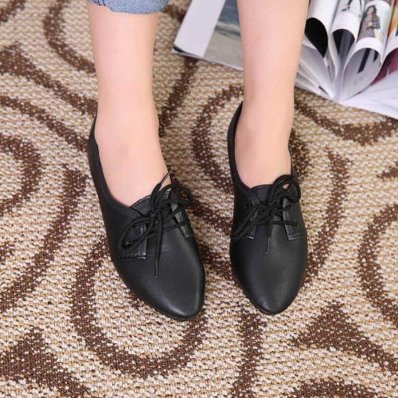 Primavera otoño Mujer pisos sólido mocasines Zapatos Slip On Punt Toe Casual cómodo señoras Zapatos De Mujer