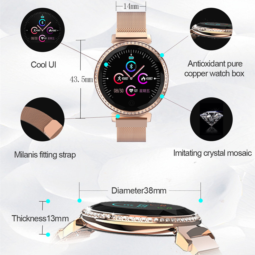 Image 4 - ASKMEER MC11 Women Smart Bracelet Luxury Rhinestone Smart Band Heart Rate Blood Pressure Monitor Female Message Reminder Watch-in Smart Watches from Consumer Electronics