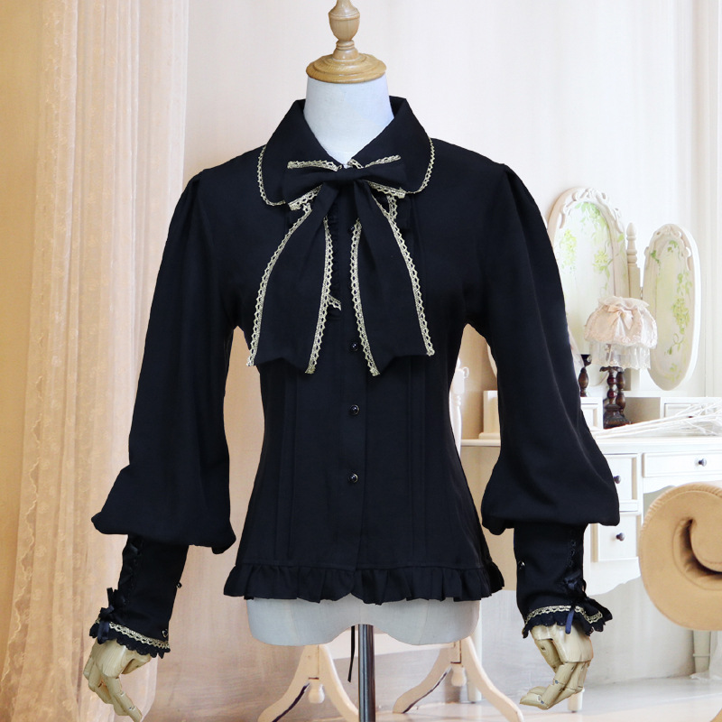 Vintage Lolita Chiffon Women's Shirt Black/White/Blue Sweet Tops Turn-Down Collar Lace Lantern Sleeve Shirts Female Blouse