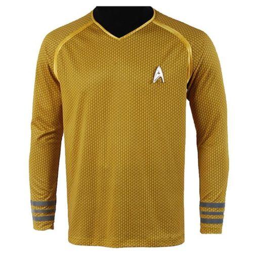Aliexpress.com  Compre A Frota Estelar Capitão Kirk Spock Star Trek Into  Darkness Cosplay Traje Terno Camisa Uniforme Versão Cor Amarela Partes  Superiores ... 2d50c0e28fc