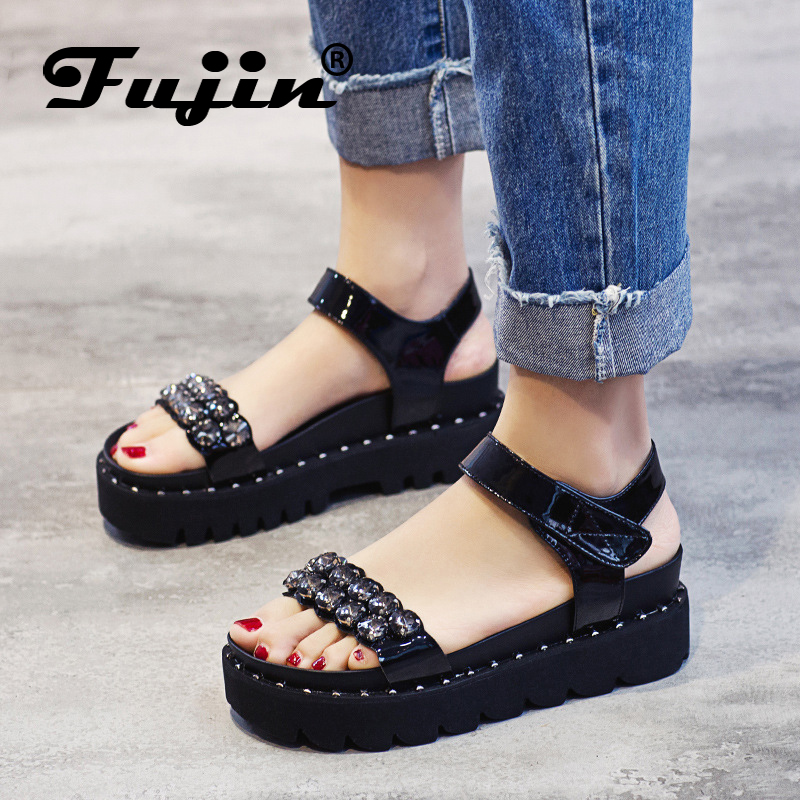 Fujin Brand 2018 Genuine Leather Wedges Rhinestone Summer Shoes For Women Platform Sandals Lady Leather Shoes Footwear fujin brand 2018 summer shoes for women platform sandals with high heel lady leather shoes footwear pink leather slip on sandals
