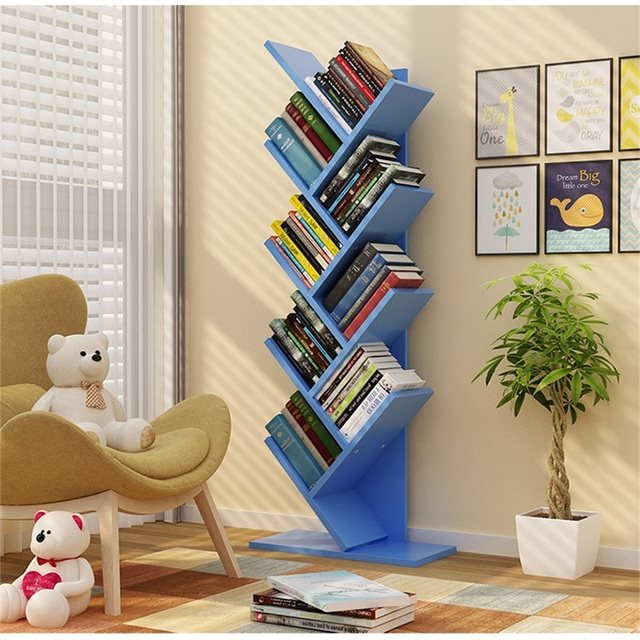 134cm 9 Layers Creative Tree Style Bookcases Portable Shelves Bedroom  Bookshelf