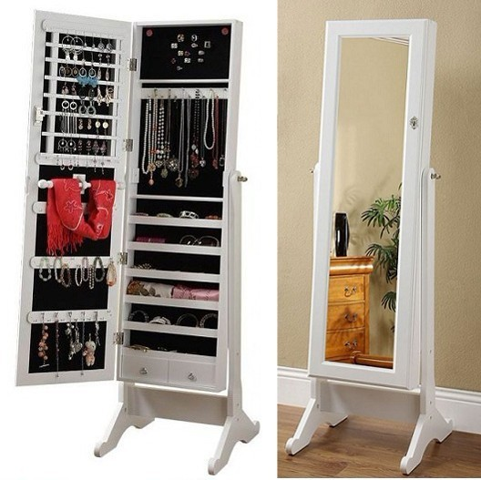 Attirant Solid Wood Furniture Full Body Dressing Mirror Dressing Mirror Jewelry  Cabinet Jewelry Storage Cabinet Mirror