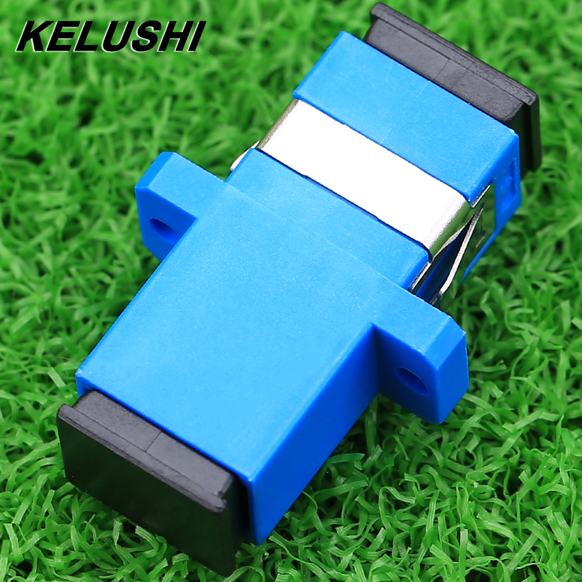 KELUSHI 200pcs / lots New Carrier-Class Fiber Optic Connector Adapter SC / UPC SM Flange Singlemode Simplex SC-SC Coupler ...