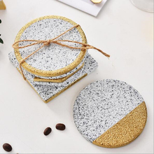 Marble Stone Grain Ceramic Coasters Gold Plating Cup Pad Mat Heat Insulation Bowl Coffee Tea Drink 1pc