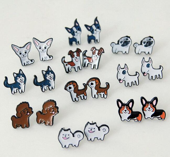 lovely dogs dog husky pet Fashion Personality Asymmetric Small Earrings unisex ear stud Ear Ring earring anime