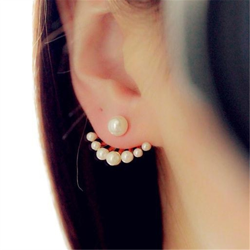 Stylish Elegant Wild Pearl Popular Jewelry New Fashion Two Side Double Ball Pearls Stud Earrings For Women золотые серьги по уху