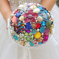DIY brooch bouquet multicolor Bride Bridal Wedding Bouquet Pearl diamond gem Customizable diamond Candy-colored bouquets