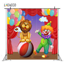 Laeacco Cartoon Circus Stage Clown Lion Baby Children Photography Background Customized Photographic Backdrops For Photo Studio