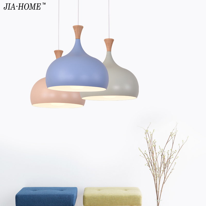 Simple Design Pendant Light For Dining Kitchen blue pink green lampshade Metal Hanging Lamp Restaurant Luminaria Light Fixture