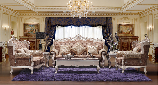 3 2 1 European Royal Style Fabric Sofa Sets Living Room Furniture Antique