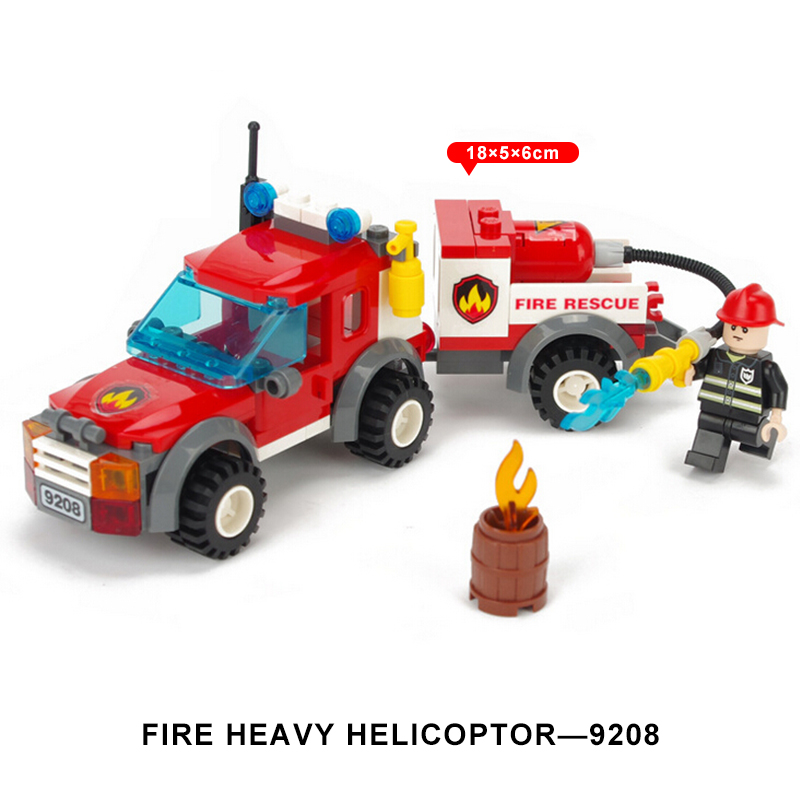 GUDI Fire Truck Blocks Children Educational Assembled Model Building Kits Blocks Toy Boy Kid Best Christmas Gift Brinquedos 9208