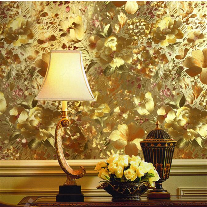 beibehang Papel de parede wall paper Modern embossed gold foil metal reflective wallpapers living room TV background wallpaper luxury modern gold foil embossed flower reflective eco friendly wallpaper roll backdrop tv background wall paper floral