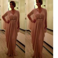 Vestidos madre de La Novia 2017 New Beading Mother Of The Bride Dresses Wide Waisted Champagne Chiffon Long Cap Sleeve Prom Gown
