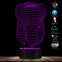 Tooth Shape LED Night Light Home Decor Atmosphere LED Color Change Lamp Colorful Gradient 3D Optical illusion Table Visual Lamp