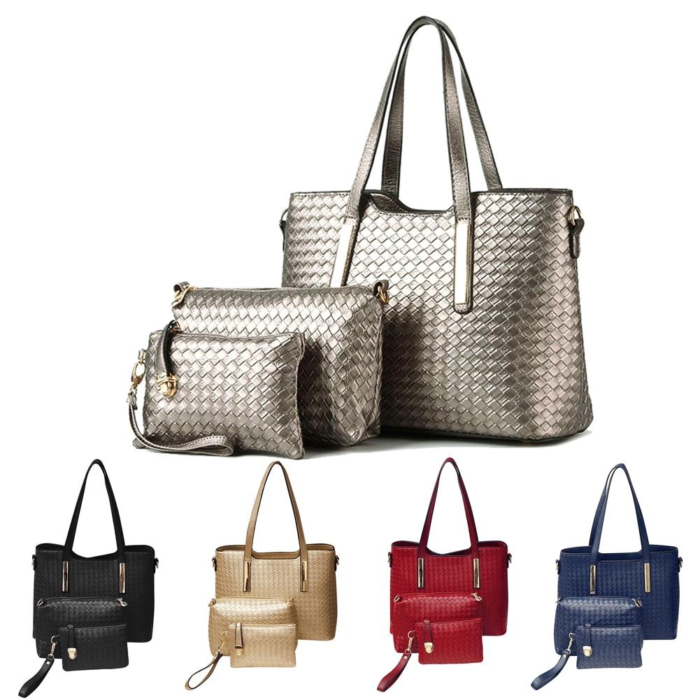 2017 3pcs/set Fashion Knitting Women Handbag Composite Bag Tote Ladies Clutch Ha