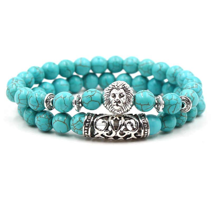 KMVEXO 2 sztuk/zestaw srebrny kolor buddy głowy lawy szkielet Turquoises kamień naturalny koraliki dla kobiet mężczyzn bransoletka zestaw Charm bransoletki