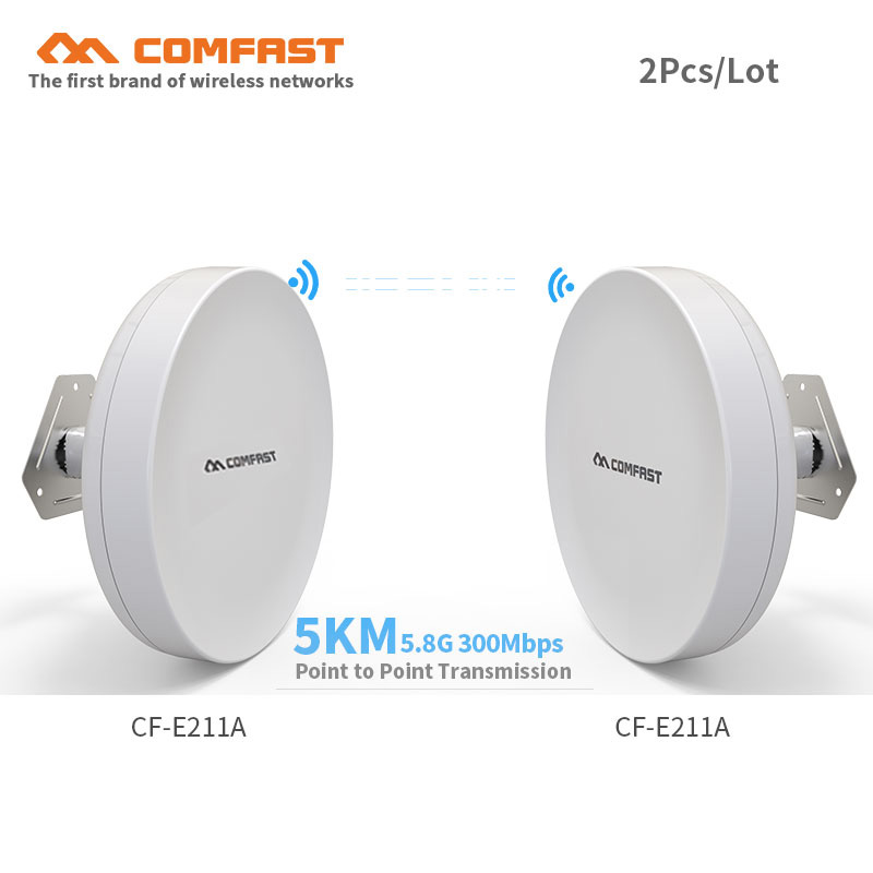 все цены на 2pcs 3-5KM Long Range Outdoor CPE 5Ghz 300Mbps Wireless bridge wifi routers CF-E211A wifi Repeater wi fi extender signal booster онлайн