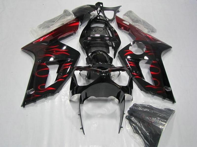 ZX6R 2003 2004 kit de carénage noir pour Kawasaki Ninja 03 04 100% carénages de costume (+ flammes rouges) k67