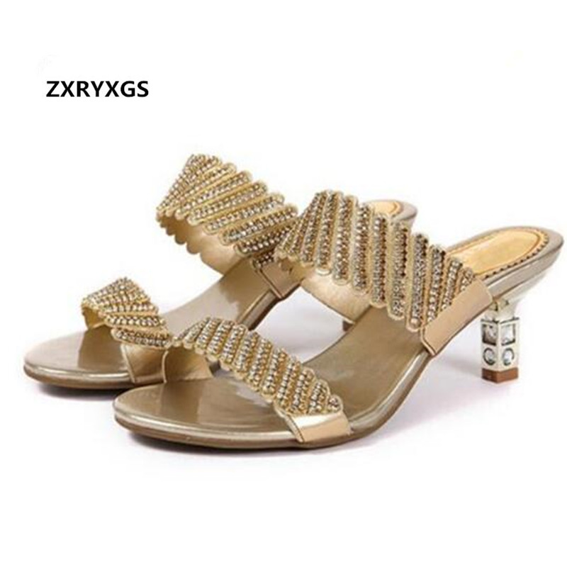 2018 Summer New Open Toe Rhinestone Shoes Sexy Fashion Sandals Slippers with Fine Heel Genuine Leather Shoes Women Sandals mvvjke summer women shoes woman genuine leather flat sandals casual open toe sandals women sandals