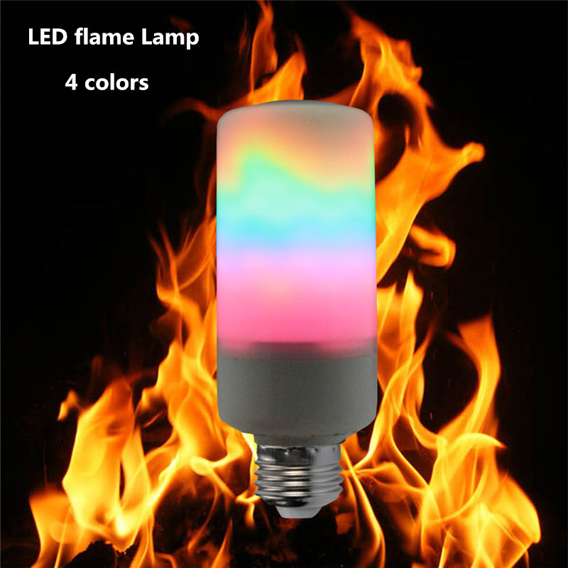 Original 100x Dhl2018 Led Flame E27/e14 Smd2835 5w/7w/9w Flame Lamp Ac85-265v 4 Colors red/green/blue/warm White Flame Dynamic Lighting Discounts Price