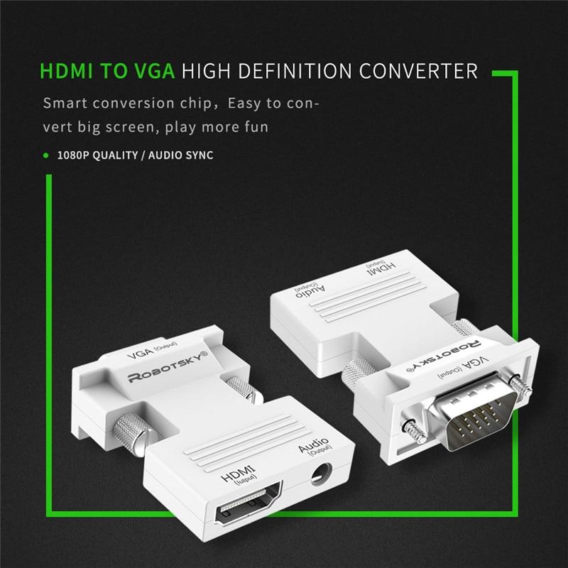 HTB17ilMcO0TMKJjSZFNq6y 1FXau Robotsky 1080P HDMI to VGA Adapter Digital To Analog Audio Video Converter Cable for PC Laptop TV Box Projector