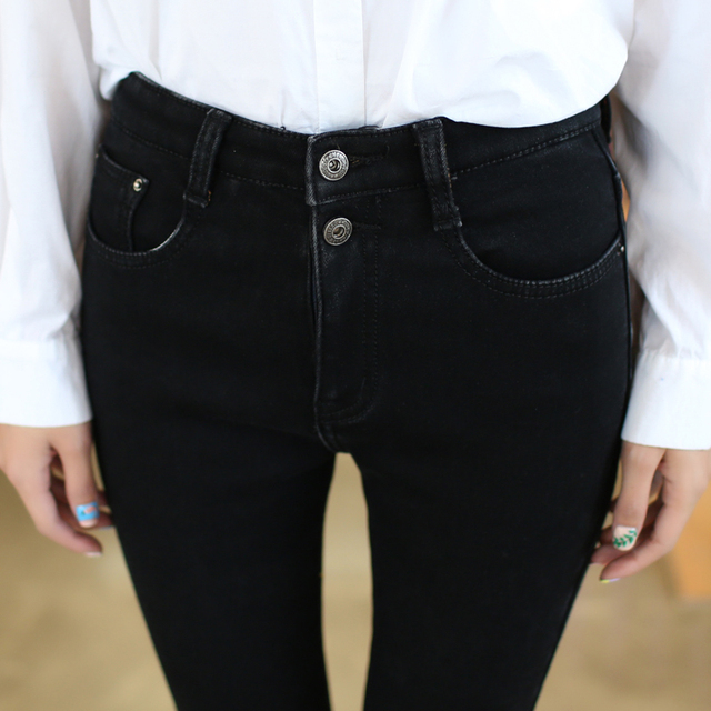 2016 Autumn Winter Skinny 2 Button High Waist Jeans Women 4xl Plus Size Stretch Causal Legging Black Blue Denim Pants Feminino