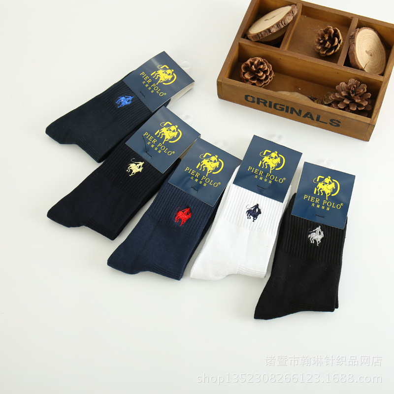 PIER polo   socks   5 Pairs Men Pantufa Calcetines male solid color 100% Cotton Harajuku Happy Men's   Socks   Business Embroidery Meias