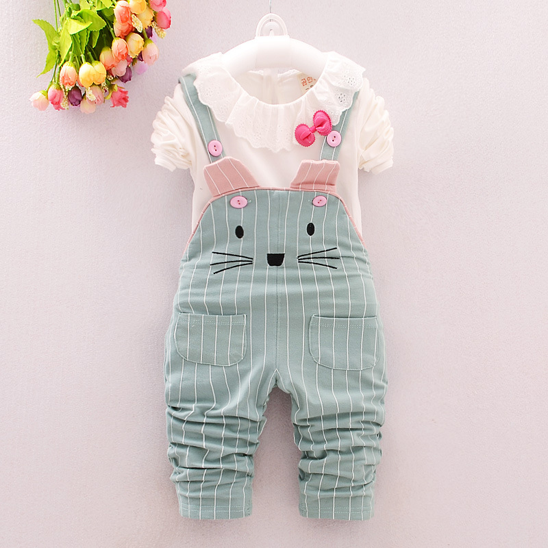 2016 autumn new childrens clothing suit 0-4 year-old girl edge quality cotton T-shirts cartoon cat Bib baby girls sets