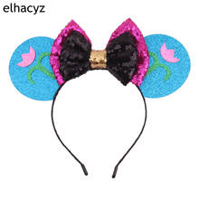 1PC New Minnie Mouse Ears Headband Party DIY Hair Accessories Headwear Christmas 5 Sequin Bow Hairband For Girls Women