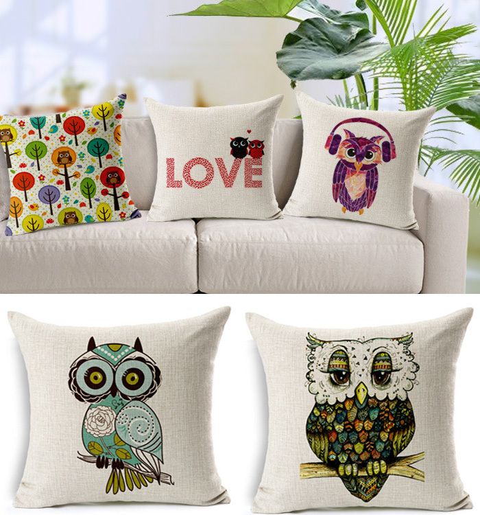 Cute Pillow Cushion Night Owl Car Bed Printed Lover Couple Home