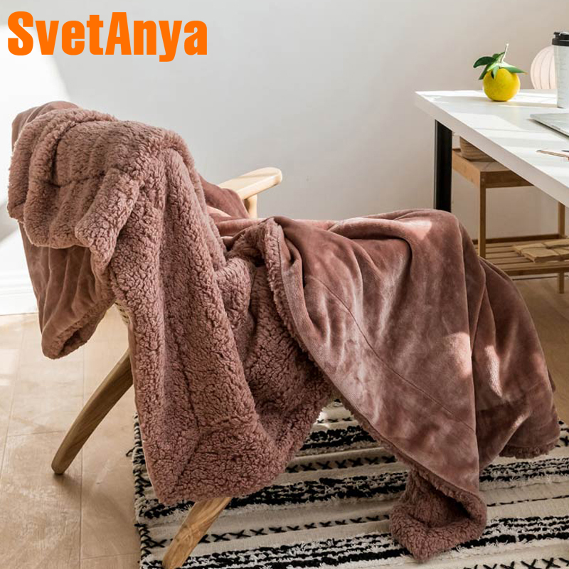 Bedding Sofa Throws Blanket thick and warm Plaid Solid color