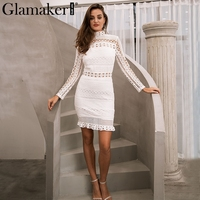 Glamaker Sexy Hollow Out White Lace Dress Women Elegant Ruffle Black Mini Dress Vestidos Autumn Female